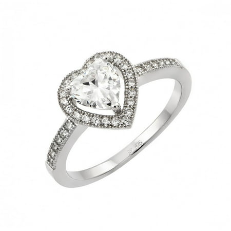 Heart Shape Center Clear Cubic Zirconia Heart Ring Rhodium Plated Sterling Silver Size -