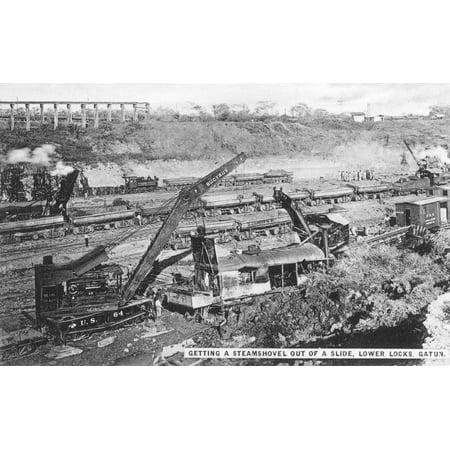 Panama Canal 1910S Nconstruction Of The Lower Gatun Locks Of The Panama Canal Original Souvenir Photopostcard From Panama City Rolled Canvas Art -  (24 x