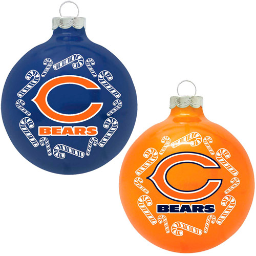 Topperscot NFL Chicago Bears Home and Away Glass Ornament Set, Set of 2