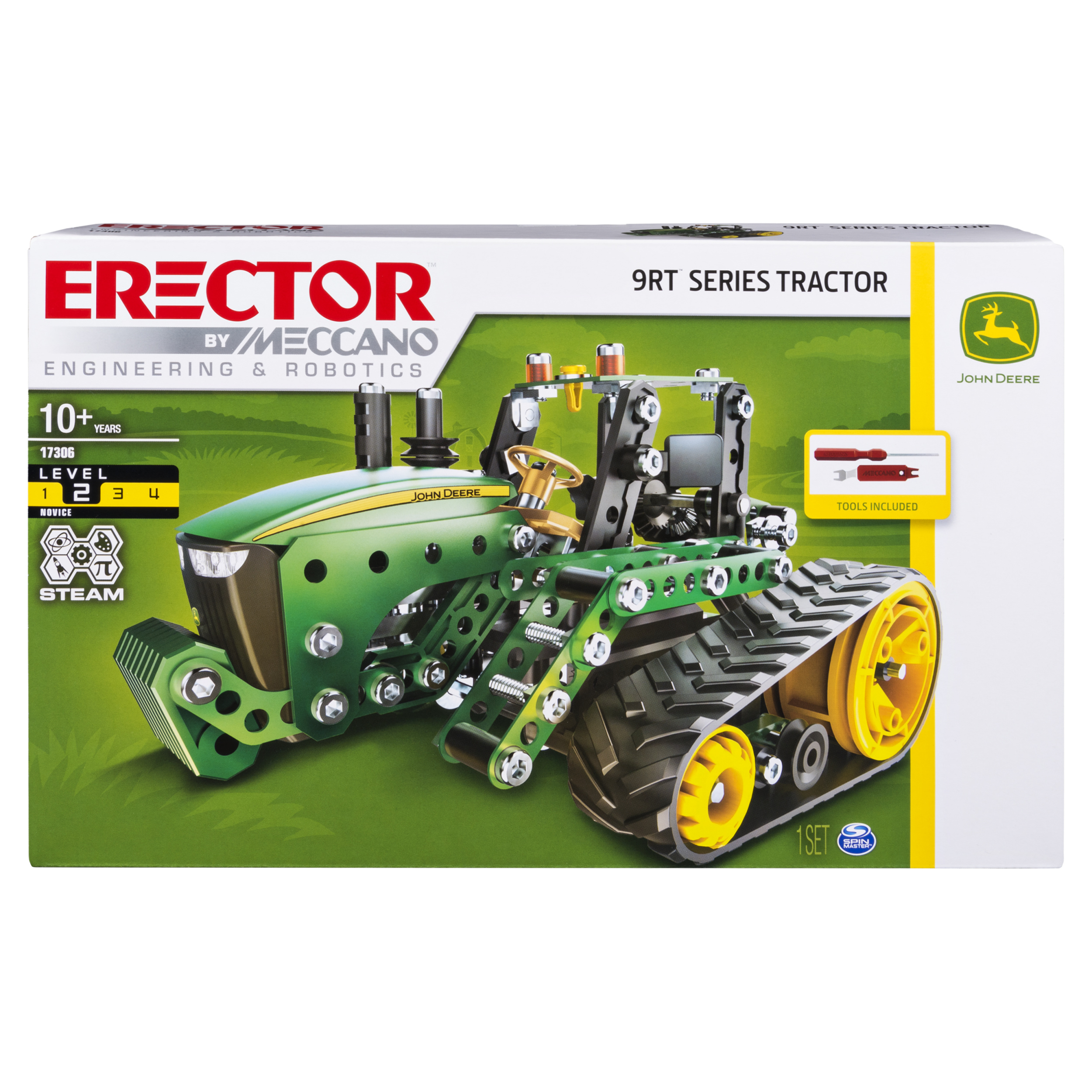 Erector by Meccano John Deere 9RT Tractor Model Building Kit, 278 Parts, for Ages 10 and Up