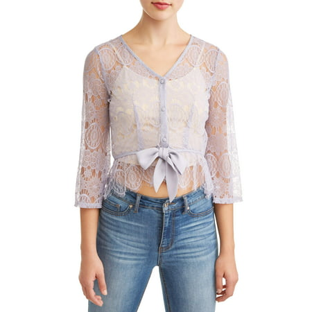 Juniors' All Over Lace Peplum Tie Front Long Sleeve - Lace Tie Front Tie