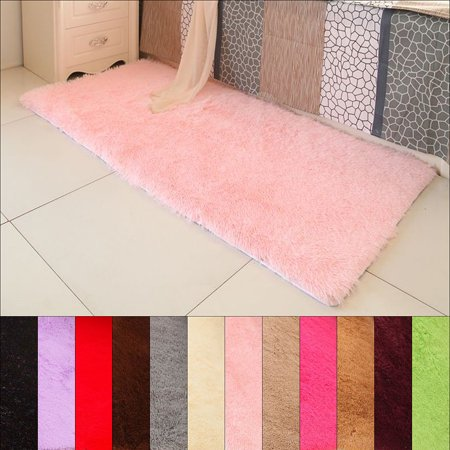 Soft Fluffy Rugs Anti-Skid Shaggy Area Rug Dining Room Home Bedroom Silk Carpet Floor Mat 12 Colors (80*120cm/31.49*47.24Inch)