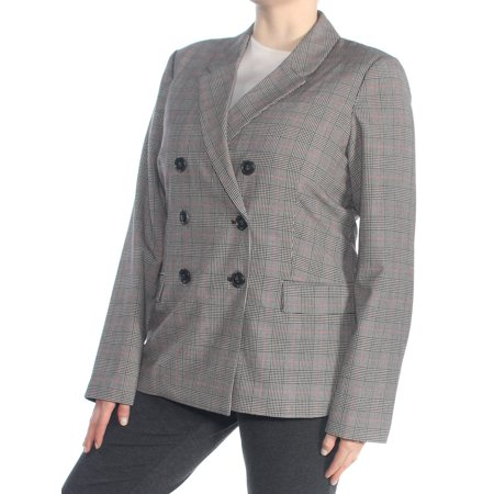 GUESS Womens Gray Plaid Double Breasted Blazer Wear To Work Jacket  Size: XL ()