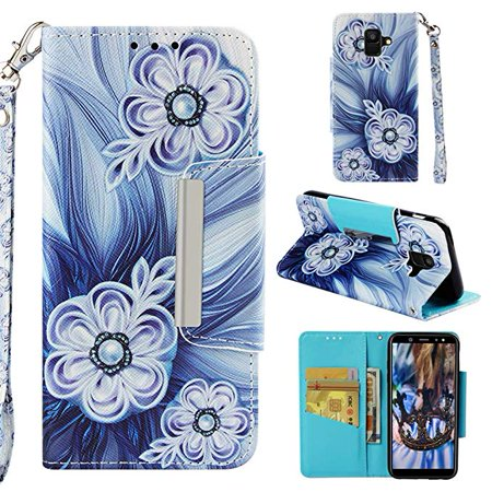 Case for Samsung Galaxy A6 2018, Allytech PU Leather 3D Printing Wallet Case Inner Soft Bumper with Durable Magnetic Closure & Wrist Strap for Samsung Galaxy A6 2018 Phone, Button Flower