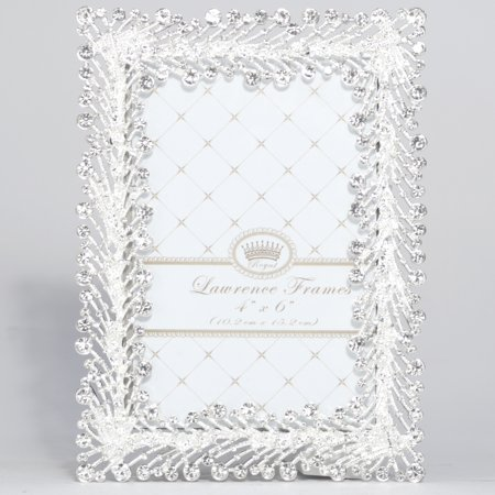 Crystal Heirloom Frame (4x6 Jasmond Silver Metal Frame with Crystal Spray)