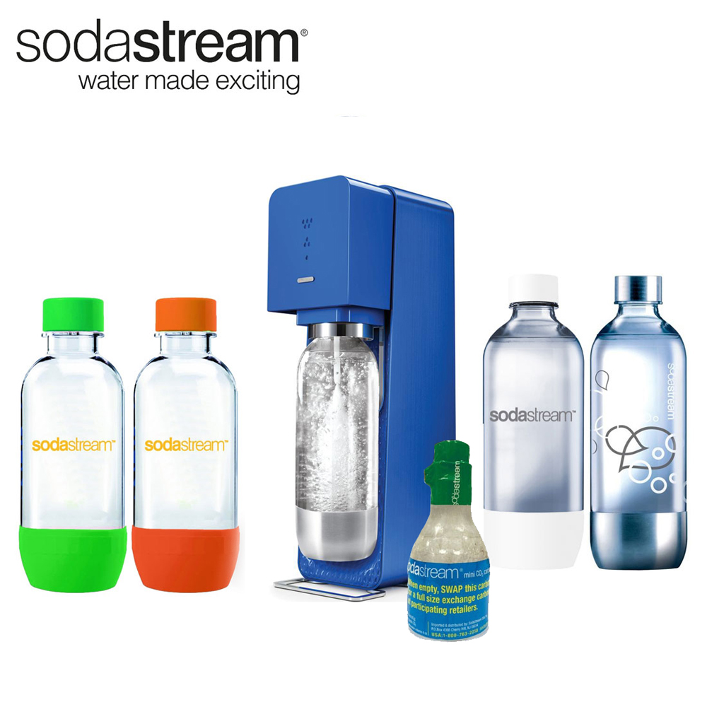 New SodaStream Source Blue Soda Maker 4x 1L Bottles & Starter CO2 Bundle