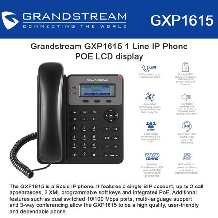 Grandstream GXP1615 1-Line IP Phone POE LCD display 3way conference