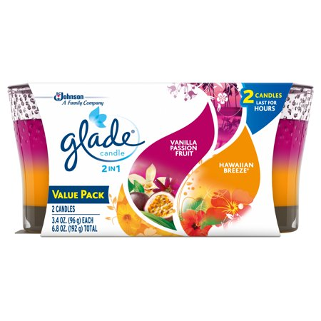 Glade 2in1 Jar Candle 2 CT, Hawaiian Breeze & Vanilla Passion Fruit, 6.8 OZ. Total, Air Freshener