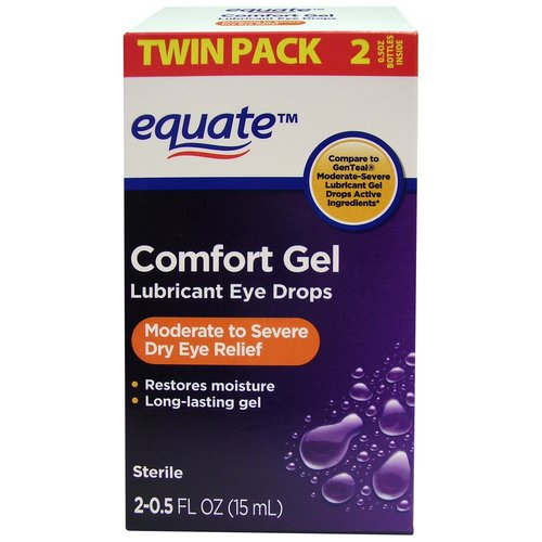 Equate Comfort Gel Lubricant Eye Drops, 0.5 fl oz, 2 count