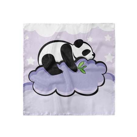 Panda Head Scarf, Sleeping Panda on Cloud, Head Wrap, 3 Sizes, by Ambesonne