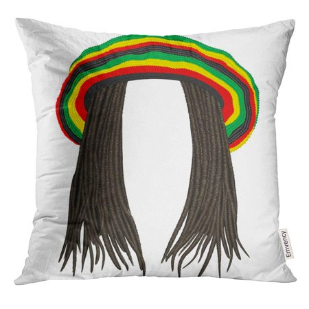 CMFUN Colorful Rastafarian Jamaican Rasta Hat Hair Dreadlocks Reggae Funny Avatar Wig Pillow Case 20x20 Inches Pillowcase](Avatar Wigs)