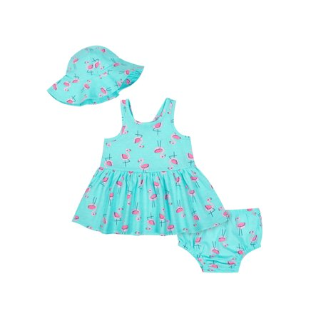 Sleeveless Dress with Diaper Cover & Sun Hat, 3pc Outfit Set (Baby Girls)