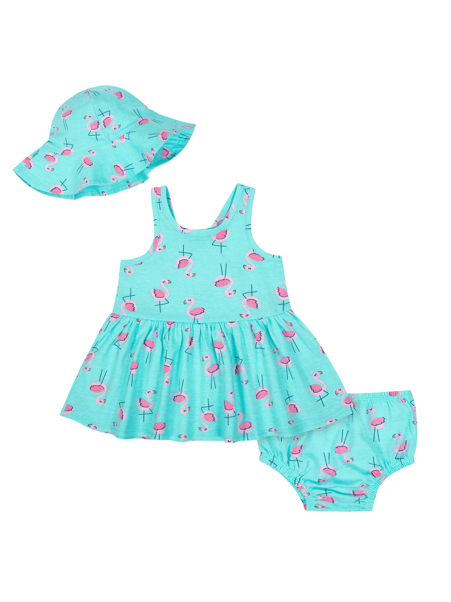 Sleeveless Dress with Diaper Cover and Sun Hat Outfit Set, 3pc (Baby Girls)