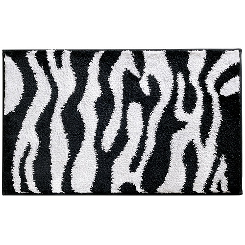"InterDesign Microfiber Zebra Bathroom Shower Accent Rug, 34"" x 21"", Black/White"