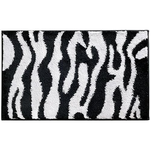 "InterDesign Microfiber Zebra Bathroom Shower Accent Rug, 34"" x 21"", Black/White"