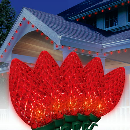 Holiday Time Led C9 Super Bright Light Set Green Wire Red Bulbs 100 Count