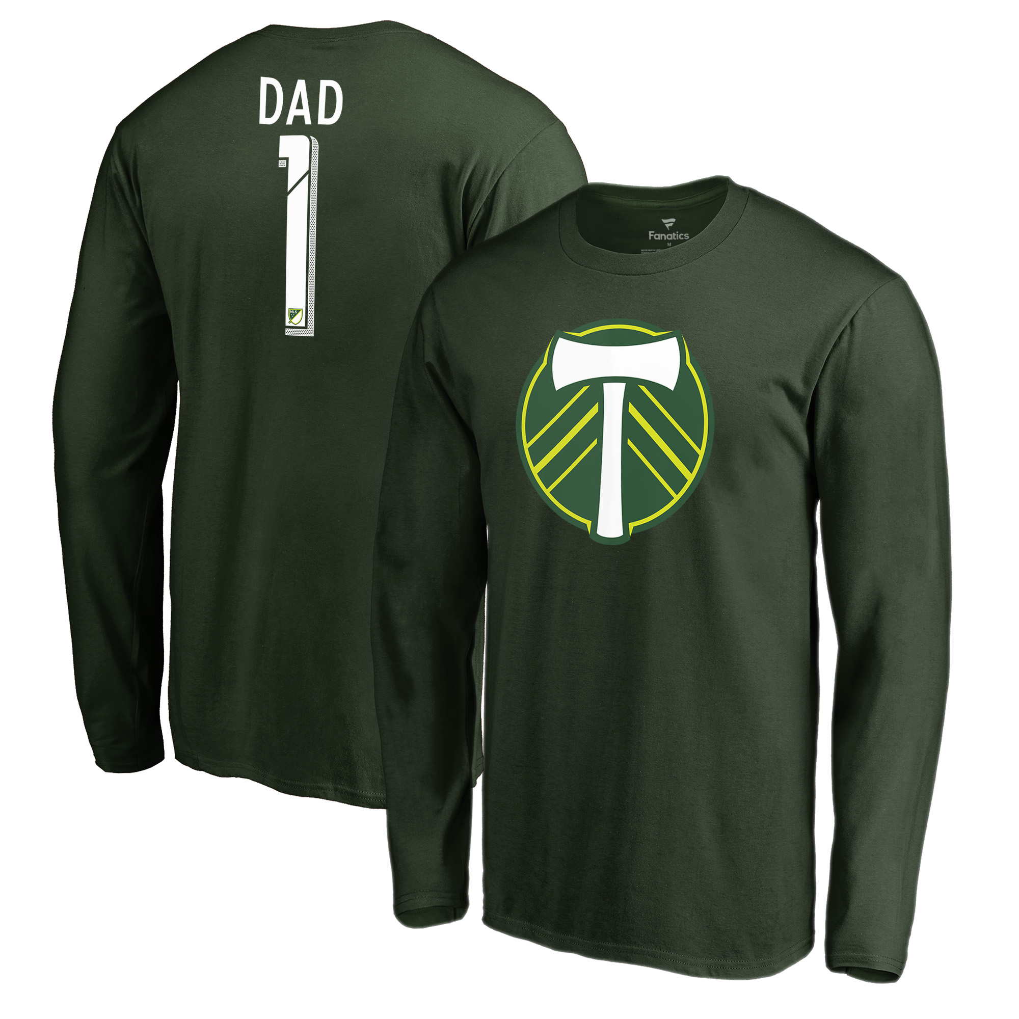 Portland Timbers Fanatics Branded #1 Dad Long Sleeve T-Shirt - Green