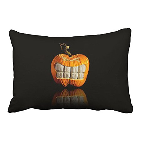 WinHome Happy Halloween Scary Orange Pumpkin And White Teeth Black Decorative Pillowcases With Hidden Zipper Decor Cushion Covers Two Side 20x30 inches](Happy Halloween Pumpkins White)