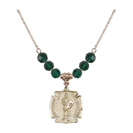 18-Inch Hamilton Gold Plated Necklace with 6mm Green May Birth Month Stone Beads and Saint Florian Charm ()