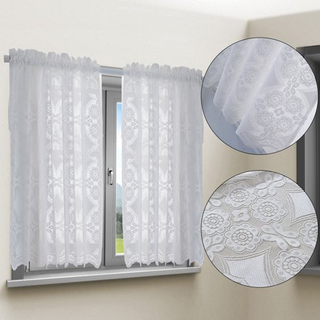 TSV Lace Curtains Tiers Set - Scalloped Bottom Design - 24