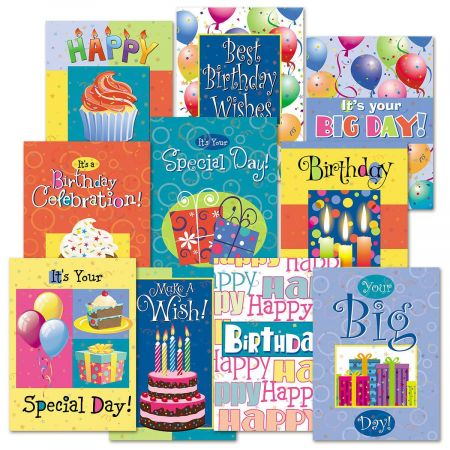 Birthday Fun Cards Value Pack - Set of 20 (10 designs)