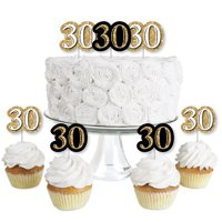 Adult 30th Birthday - Gold - Dessert Cupcake Toppers - Birthday Party Clear Treat Picks - Set of 24