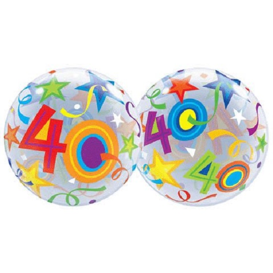 "22"" Bubbles 40 Brilliant Stars Birthday Stretchy Plastic Balloon Party"