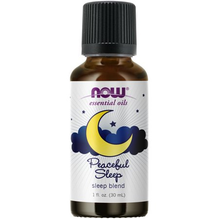 NOW Essential Oils, Peaceful Sleep Oil Blend, Relaxing Aromatherapy Scent, Blend of Pure Essential Oils, Vegan, Child Resistant Cap, 1-Ounce Oil Blend 180 Caps