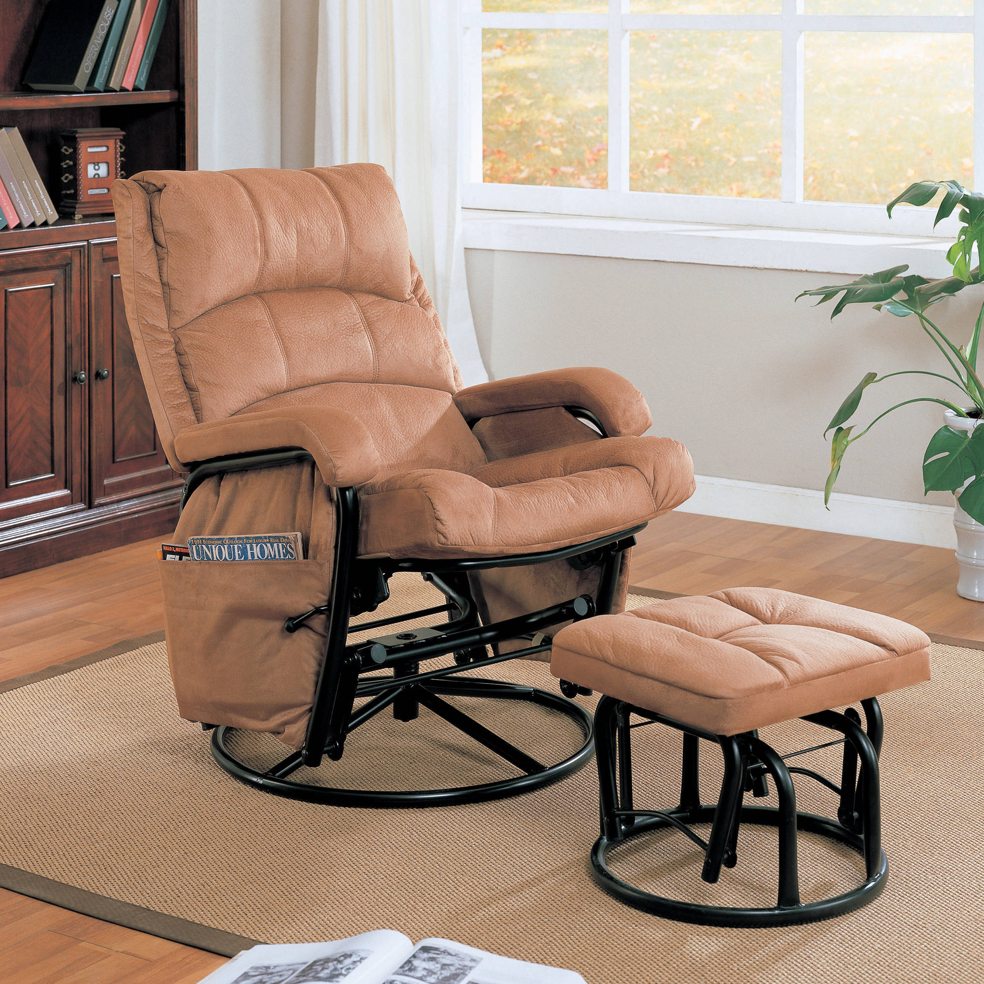 Coaster Microfiber Glider Recliner and Ottoman in Brown by Coaster Company
