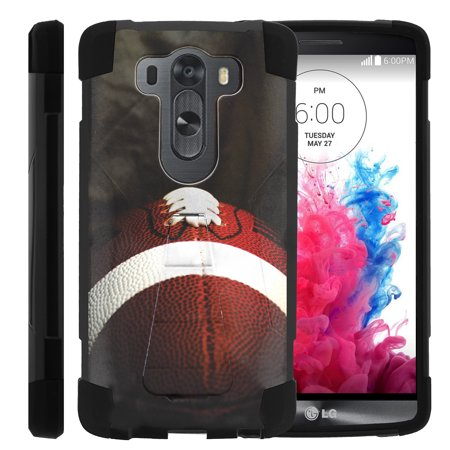 Case for LG V10 | V10 Hybrid Cover [ Shock Fusion ] High Impact Shock Resistant Shell Case + Kickstand - Football Lace Close Up