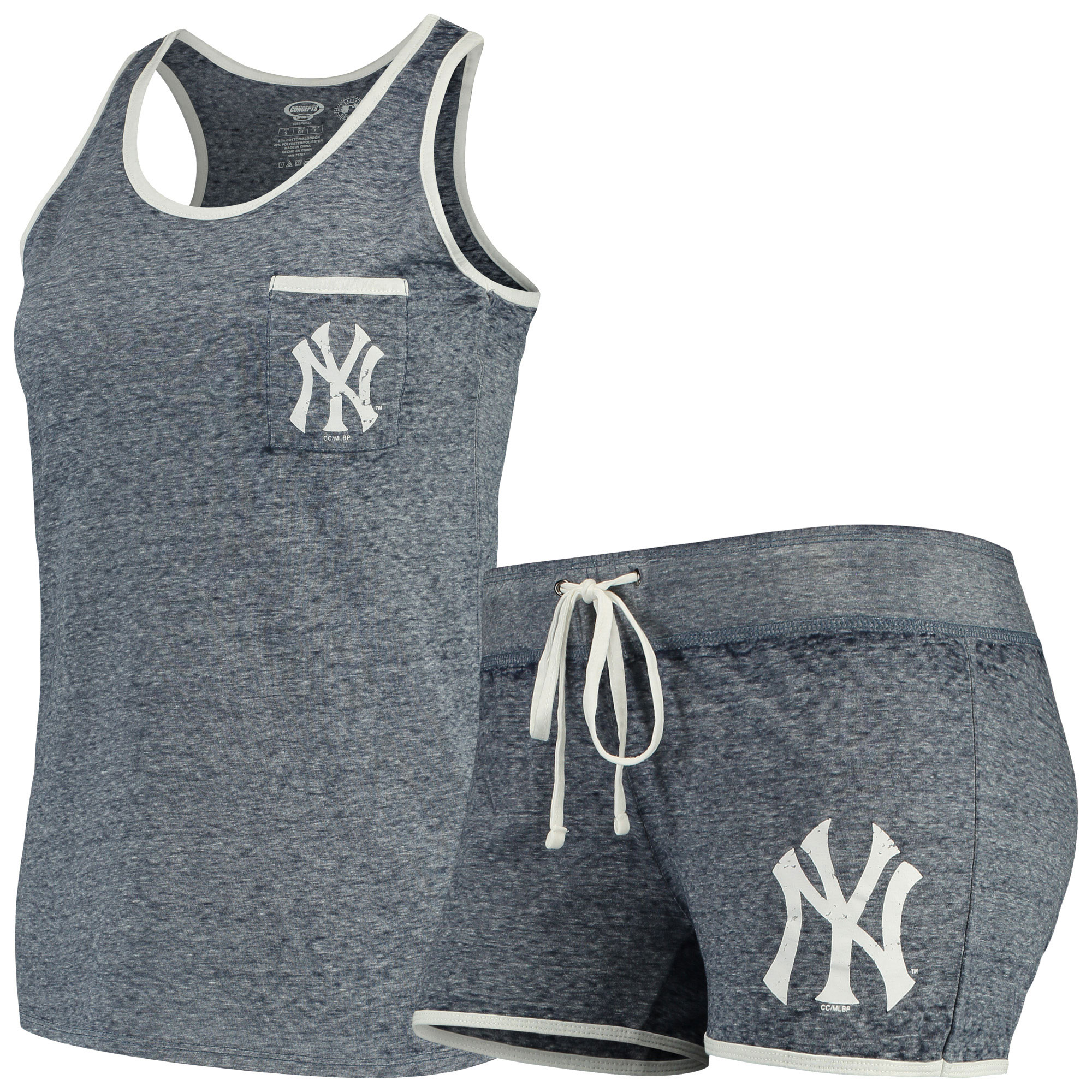 New York Yankees Concepts Sport Women's Squad Tank Top & Shorts Set - Heathered Navy