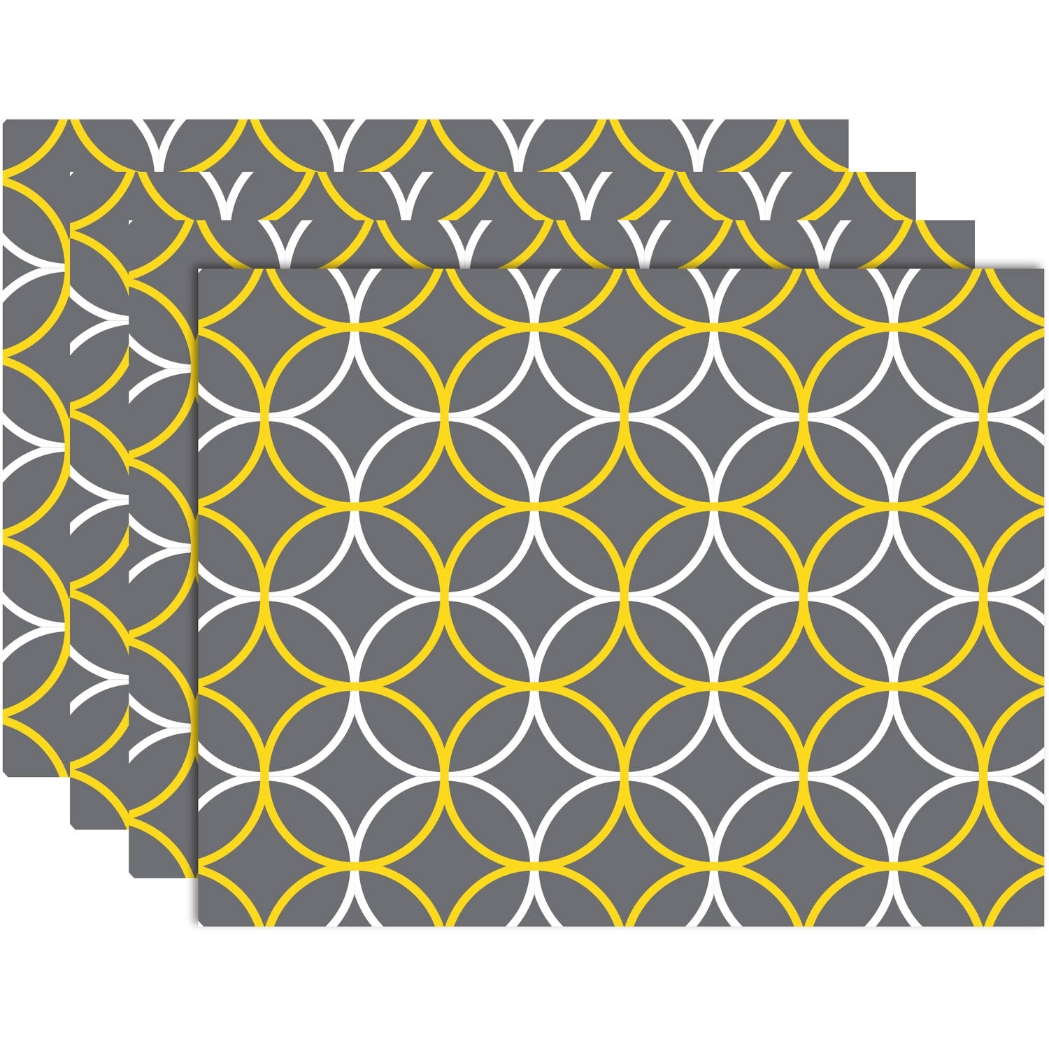 Hotel 4-Pack Circles Placemat, Yellow Grey by