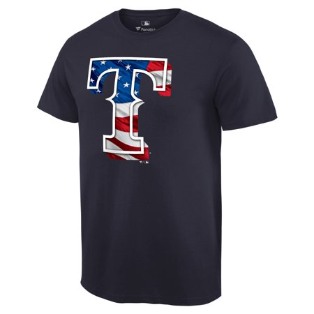 Texas Rangers Fanatics Branded 2019 Stars & Stripes Banner Wave Logo T-Shirt -
