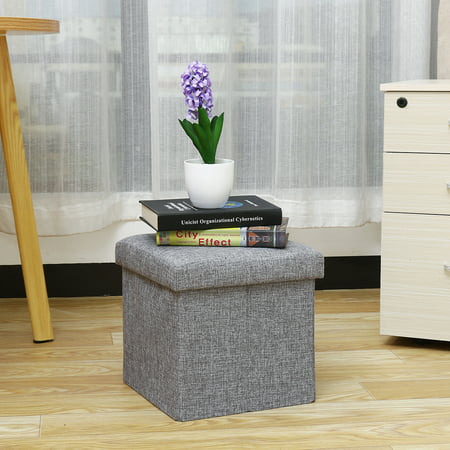 Classics Gray Foldable Storage Ottoman Foot Rest Bed Bench Toy Box Coffee Table Stool 12