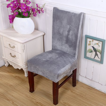 Stretch Fox Velvet Fabric Dining Room Wedding Kitchen Home Chair Seat  Covers Gray