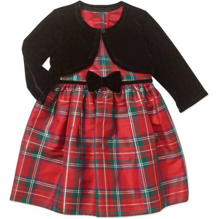 b61fdac4abc9d George - Toddler Girls Plaid Formal Holiday Dress Black Bow Shrug Outfit -  Walmart.com