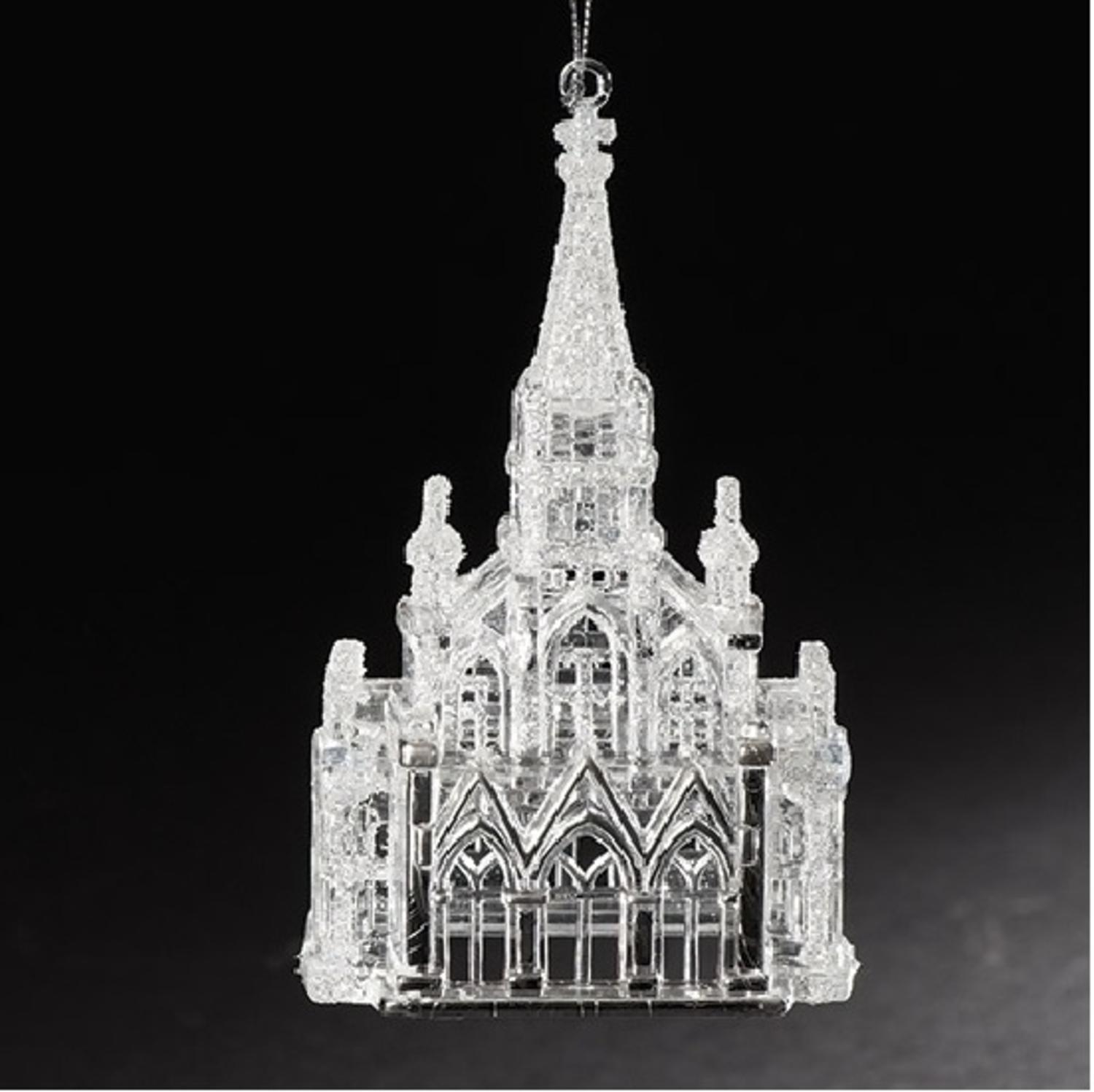 "6"" Crystal Church with Iridescent Glitter Religious Christmas Ornament"