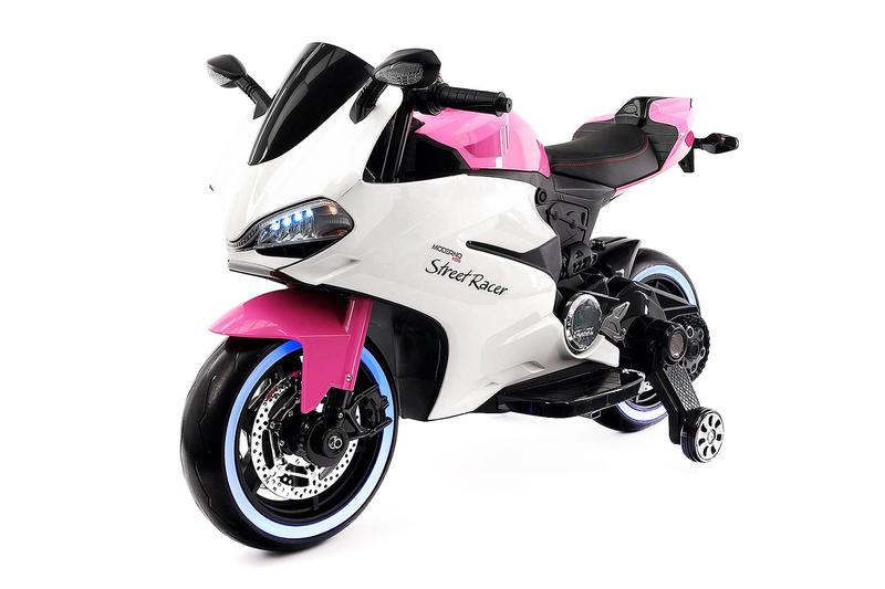 2018 Pink Racer Toddler 12V Powered Ride On Toy Kids Motorized Motorcycle W  Leather Seat,... by