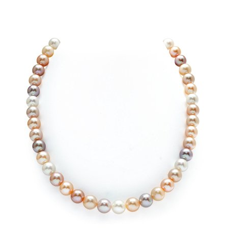 (THE PEARL SOURCE 14K Gold 9-10mm AAAA Quality Multicolor Freshwater Cultured Pearl Necklace for Women in 24