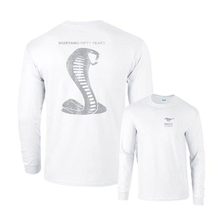 Gray Long Sleeve Shirt - Mustang Fifty Years Ford Cobra Grey Snake Long Sleeve T-Shirt