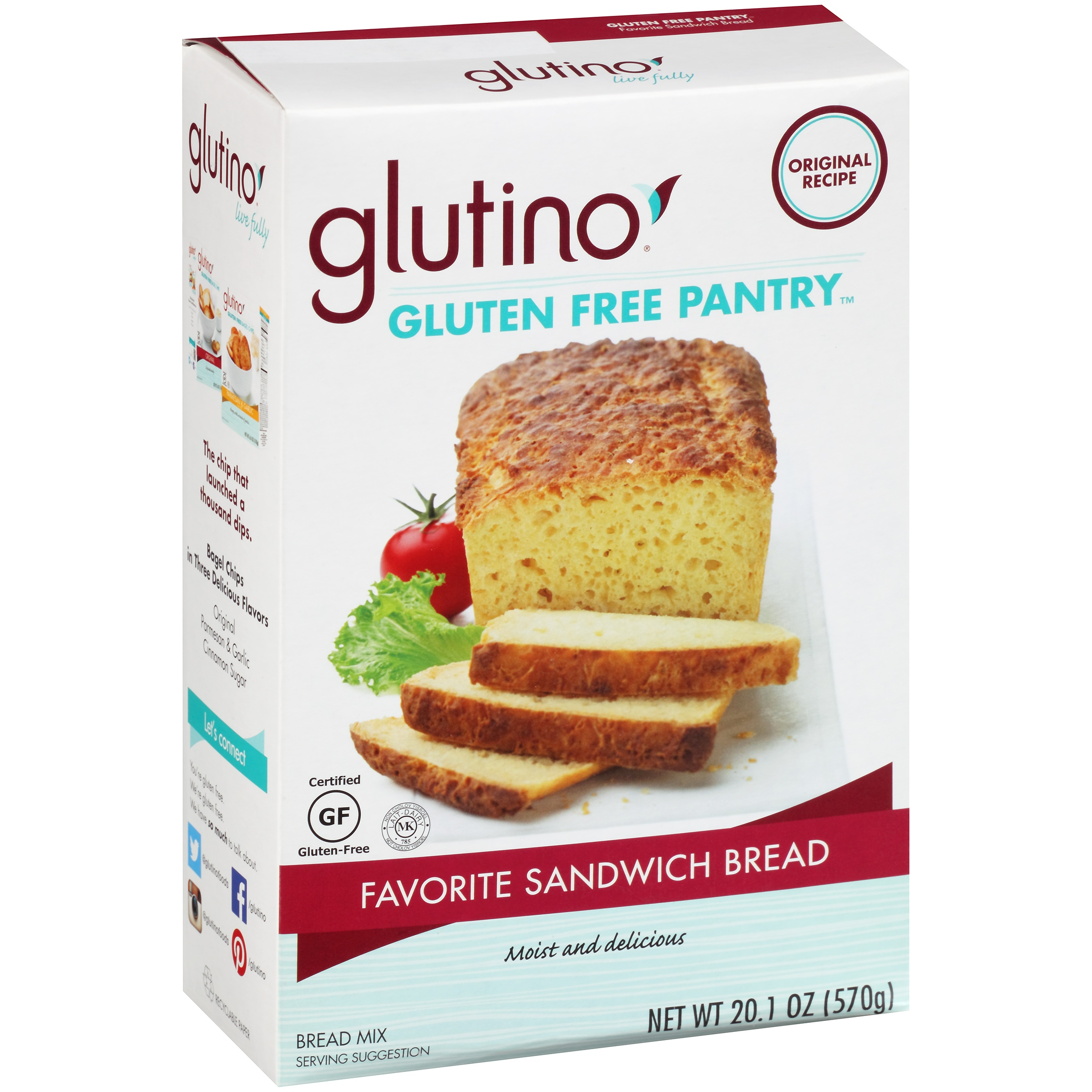 Glutino Gluten Free Pantry Favorite Sandwich Bread Mix 20.1 oz. Box by Glutino, a Division of Boulder Brands USA, Inc.