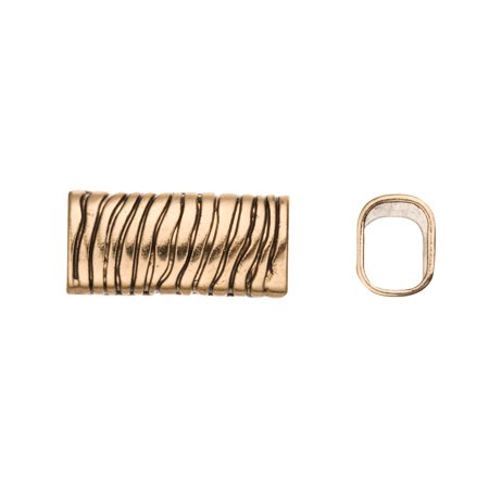 Leopard Finish - Leopard Licorice Charms Fits 10x8mm Licorice Leather - Antique Gold Finished 4pcs