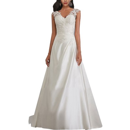 Plus Size Women Sleeveless V Neck Backless Bridal Gown  Skinny Lace Mermaid Wedding Dress S-5XL