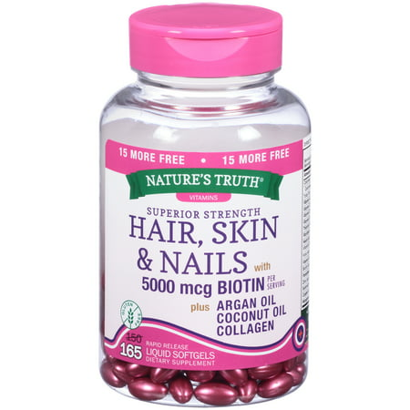 Nature's Truth® Superior Strength Hair Skin & Nails with 5000mcg Biotin Dietary Supplement Liquid Softgels 165 ct