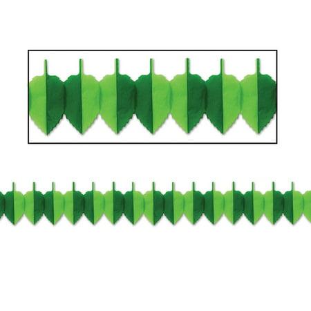 Club Pack of 12 Green Tissue Spring Leaf Garland Party Decorations 12' - Spring Party Decorations