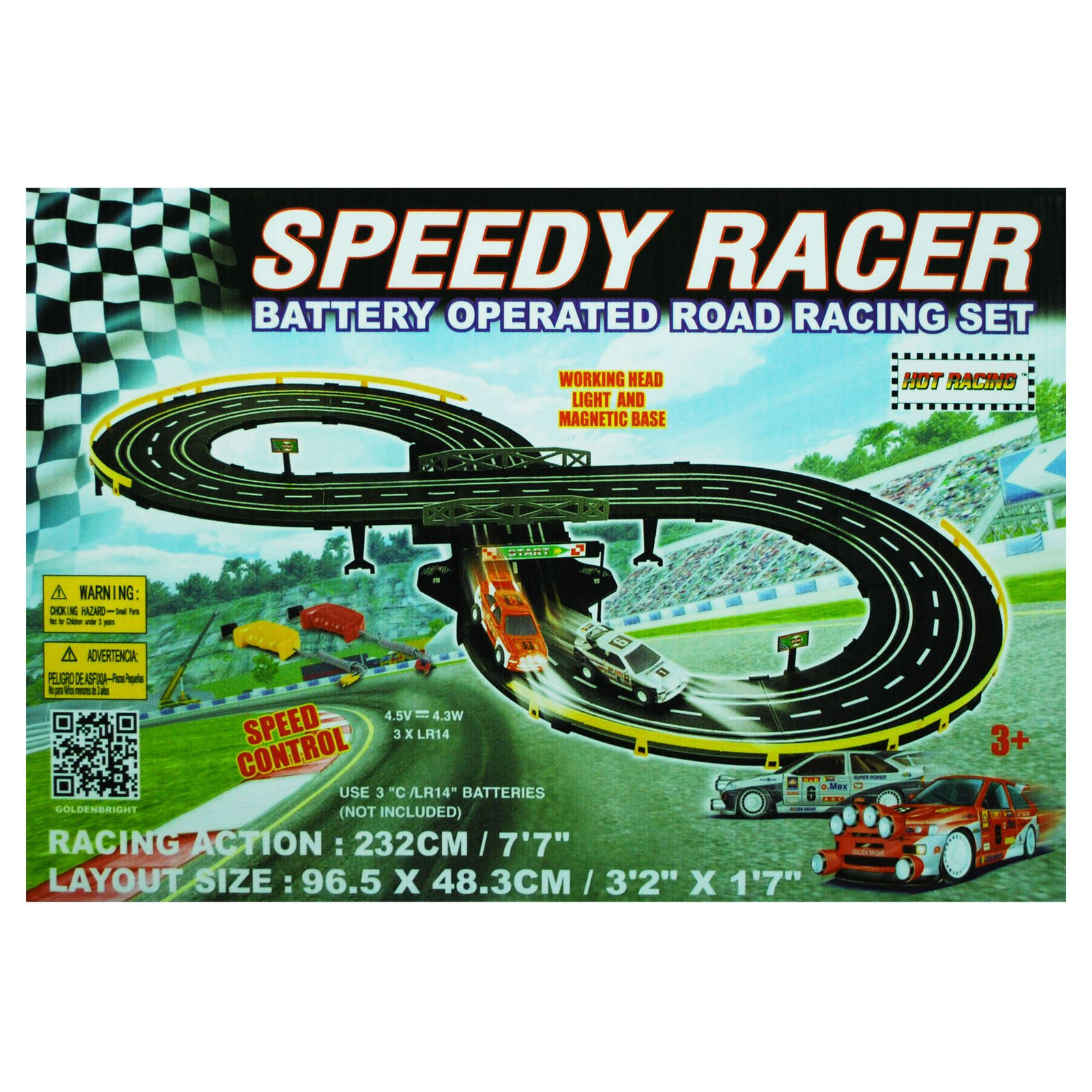Golden Bright Battery Operated Speed Racer Racing Set