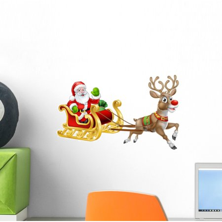 Christmas Santa Claus Sleigh Wall Decal Wallmonkeys Peel and Stick Holiday Graphics (12 in W x 8 in H) WM502779 (Garden Wall Graphics)
