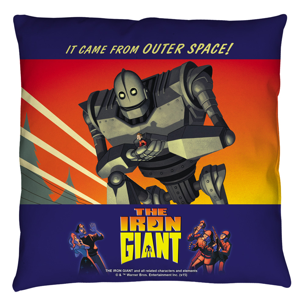 Iron Giant It Came From Space Throw Pillow White 14X14