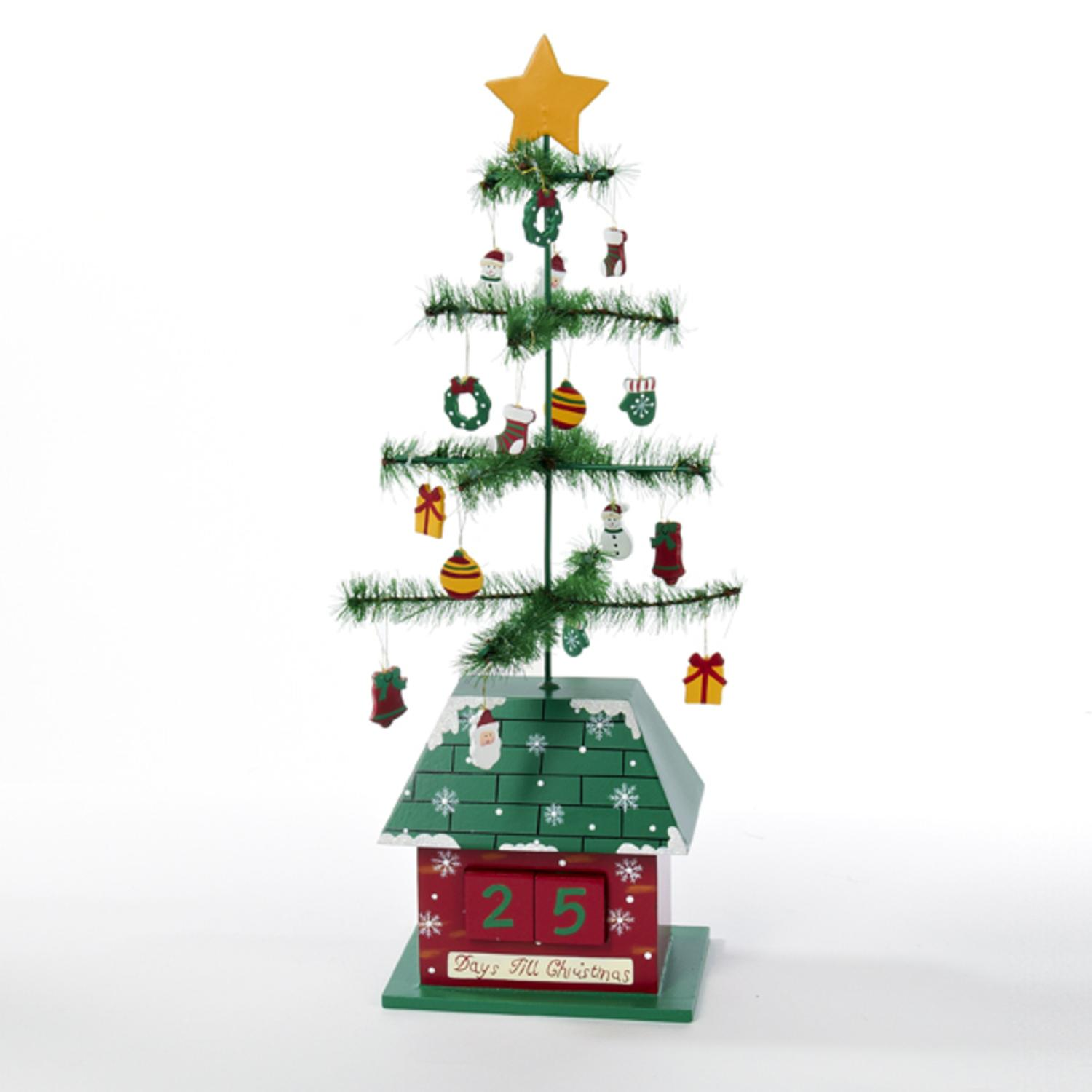 """17"""" Green and Red Christmas Tree with Ornaments """"Days till Christmas"""" Calendar"""