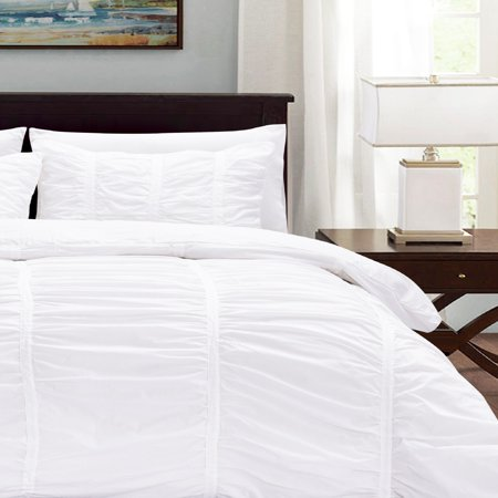 Ruffle Duvet Cover Set Cotton Bright White, King 3-Piece ()